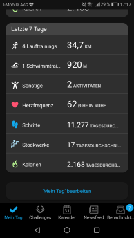 Übersicht in Garmin Connect